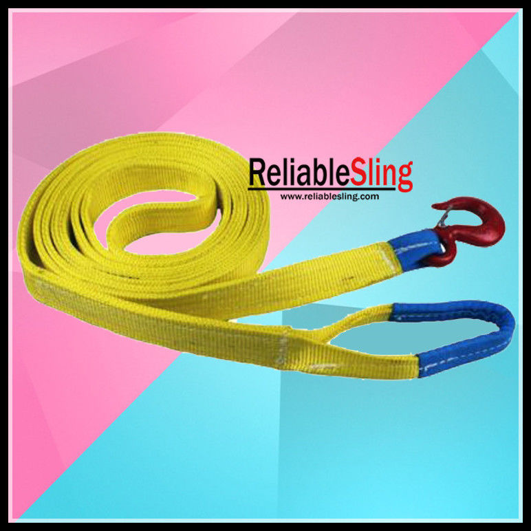 3 Ton Colored Polyester Heavy Duty Tow Strap With Forged Hooks